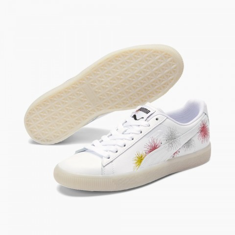 PUMA Clyde NYE Femme Sneakers Blanche/Argent/Rose Or 381019-01
